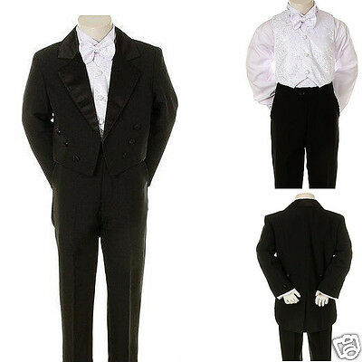 New Infant Toddler & Boy Wedding Graduation Formal Tuxedo Tail Suit Black S-20