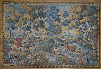 """Large Antique / vintage French Wall Hanging Tapestry Hunting scene 59"""" x 42"""""""