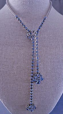 Cool Vintage Pale Blue Rhinestone Lariat Necklace 1950s Unsigned