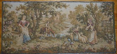 """Antique / vintage French Wall Hanging Tapestry Pastoral scene JP Paris 62"""" x 30"""""""