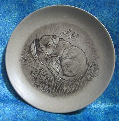 Poole Pottery Stoneware Plate Puppy Dog In A Slipper Barbara Linley Adams