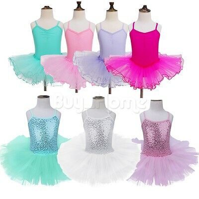 Kids Girls Leotard Ballet Dance Tutu Dress Fairy Fancy Costumes Dance Wear 2T-12