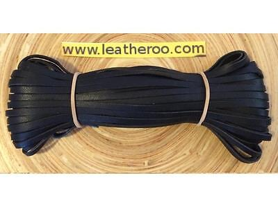 "Kangaroo Lace BLACK Kangaroo Leather Lacing 4.7mm (3/16"") Width 10 meter hank"