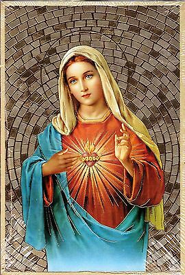 "Immaculate Heart of Mary - Gold Foil Mosaic Plaque (4"" x 6"")"