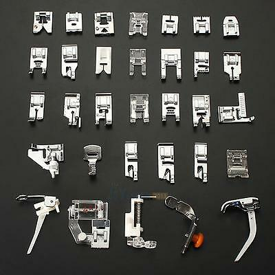 32PCS Domestic Sewing Machine Presser Foot Feet Snap On For Brother Singer Set