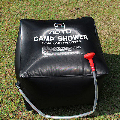 40l Camping Hiking Solar Energy Heated Shower Pipe BAG Portable Black Outdoor