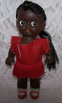 """Vintage Black African American 5"""" doll, JAPAN, Rubber moveable head arms braids"""