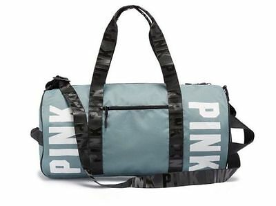 Nwt Victoria's Secret Pink Graphic Gym Duffle Travel Beach Weekender Blue Bag