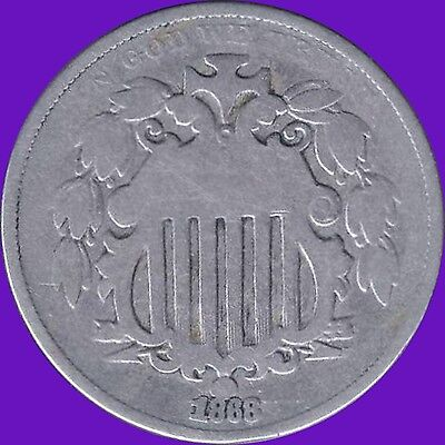 1868 United States (Shield Nickel) 5 Cent Coin (13 Stars)