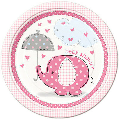 Set Of 12 Personalised  Pink Elephant Baby Shower Cake Bags