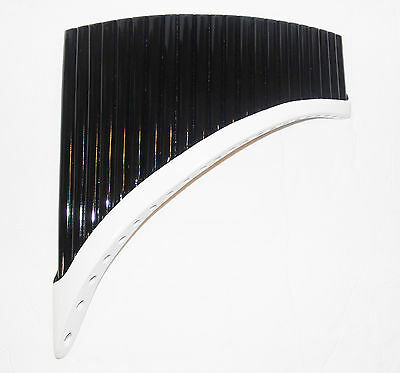Pan Flute 22 Pipes Right Handed Black And White Bamboo  - Item In Usa