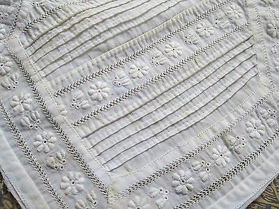 Antique Jabot hand embroidered from white batise for dolls/France