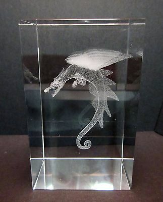 Dragon Laser Picture in Rectangle Crystal  80mm - Gift Boxed