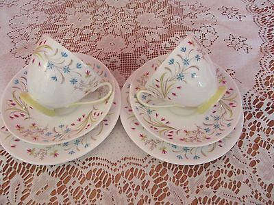 Lovely Vintage bone china Queen Anne Lucerne tea for two trios