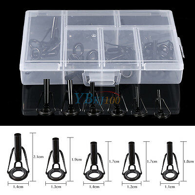 30Pcs Mixed Sizes Fishing Rod Guide Tip Repair Kit Eye Ring With Storage Box GW