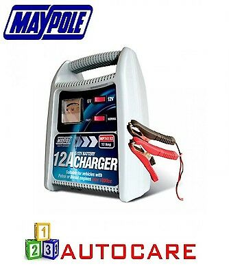 Maypole Battery Charger 12A 6V/12V Over 1800CC Car Van Motorbike Boat mp74112