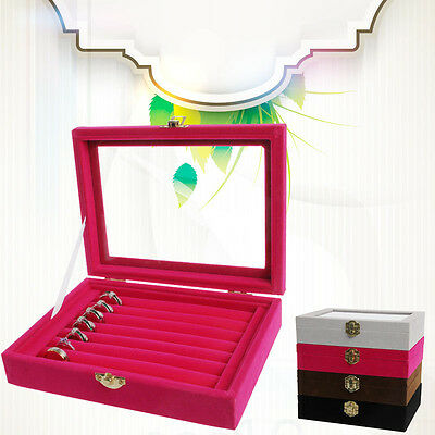 Velvet Glass Jewelry Ring Earring Display Organizer Box Tray Holder Storage Case
