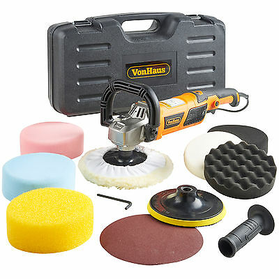 VonHaus Car Polisher Rotary Sander / Polishing Machine Set 1200W Variable Speed