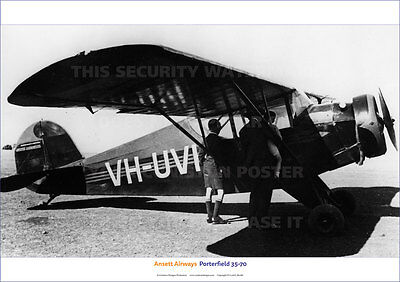 Ansett Airways Porterfield 35-70 Aircraft A3 Poster Print Picture Photo Image