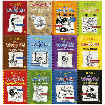 Jeff Kinney Diary of a Wimpy Kid 12 Books Collection Set NEW Long Haul,Hard Luck