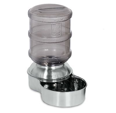 PETMATE STAINLESS STEEL GRAVITY PET DOG CAT WATERER DRINKER DISPENSER, 3.8 Ltr