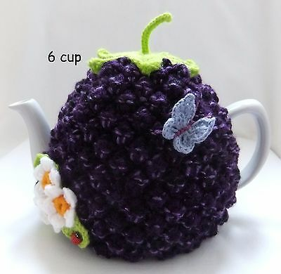 Hand-knitted-crochet 6 cup Bramble Tea Cosy