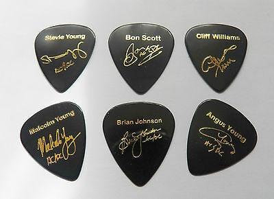 AC/DC ACDC autograph stamped gold printed plectrum guitar picks FULL SET OF 6