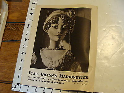 Vintage MARIONETTE Paper: 1930's PAUL BRANN'S MARIONETTES in english