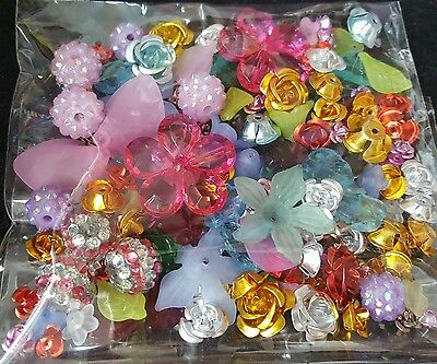 Flower Beads Lot, Flowers Jewellery Making Kit Mix