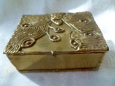 MEXICAN ARTISAN BRASS METAL BOX HAND WROUGHT FLOWERS - Exart