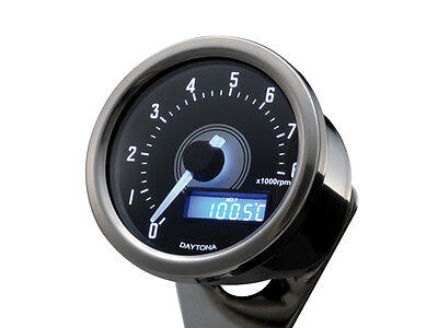 Motorcycle 8K RPM / Tachometer Daytona  polished stainless case inc. bracket.
