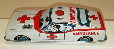 VINTAGE 1960s LITHOGRAPH AMBULANCE CAR ~ Made in Japan ~ FRICTION TIN TOY