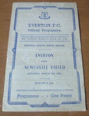 Everton v Newcastle, 1945/46 - Football League North Section Match Programme.