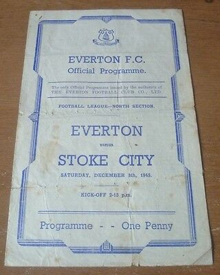 Everton v Stoke City, 1945/46 - Football League North Section Match Programme.
