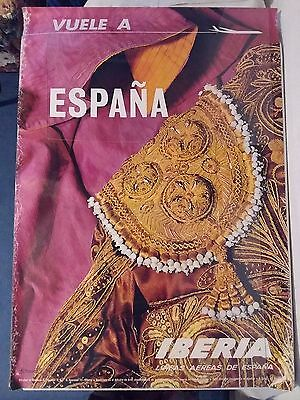 IBERIA AIRLINE PUBLICITY POSTERS x4 COMPLETELY ORIGINAL VINTAGE 1960s