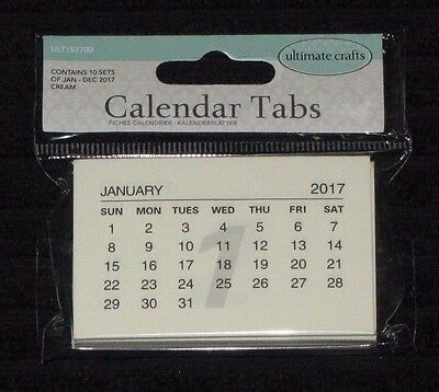 Ultimate Crafts 'CALENDAR TABS' 2017 10x each month Jan-Dec Embellishments