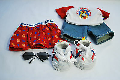 Build A Bear Happy Birthday shirt, Jean shorts, Boxers, and Tennis shoes