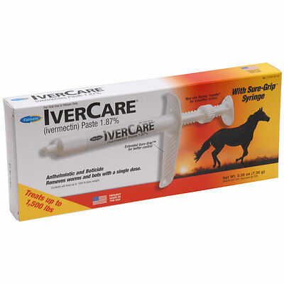 IverCare Paste Equine Horse Wormer 1.87% Ivermectin Treats 1500 Pounds