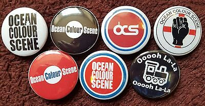 Ocean Colour Scene Button Badges x 7. Pins. Collector. Bargain :0)
