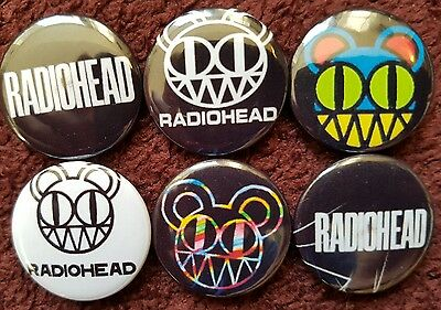 Radiohead Button Badges x 6. Pins. Collector. Bargain :0)