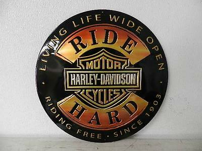 OEM Harley-Davidson Ride Hard Round Tin Sign Embossed New Garage Bar Shop Rec Ro