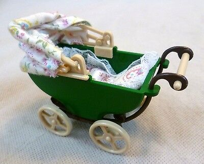 Vintage Sylvanian Families Dolls House Green Plastic Baby's Pram
