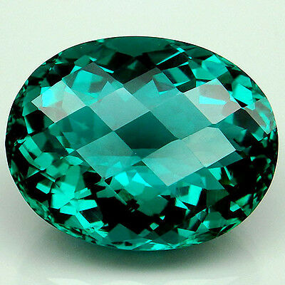 27.4ct. Spectacular!!! Paraiba Green Apatite Oval&Checkerboard Table