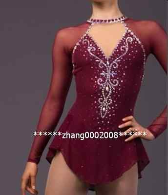 Ice skating dress. wine Competition Figure Skating dress. Baton Twirling custom