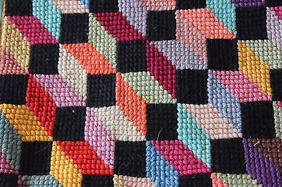 Vintage c1940-1950 Handmade Wool Colorful Geometric Pillow Front~Bargello