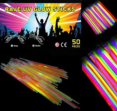 "50 x 8"" NEON GLOW STICKS WITH 100 CONNECTORS RAVE NIGHT GLOW PARTY UV BRACELETS"