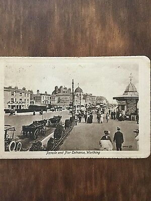 Antique postcard of Parade and Pier Entrance, Worthing, Sussex