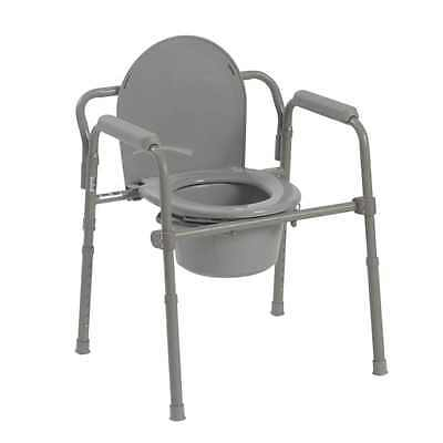 Drive Medical Steel Folding Bedside Commode with lid installs, 2-days shipping