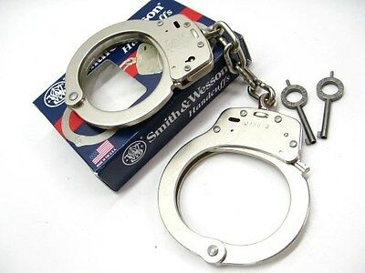SMITH & WESSON S&W Chain Extra Link Model 100L Nickel Handcuffs + Keys! 350140