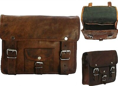 One Side Pouch Brown Leather Motorcycle Side Saddlebags Saddle Panniers 1Bag
